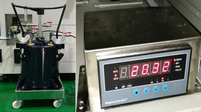 Glue weighing system can detect empty tank to  avoid missing coating.